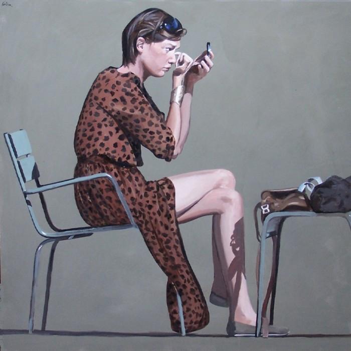 robe panthère,peinture figurative,maquillage,