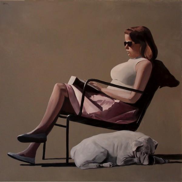lectrice,bouledogue,peinture figurative